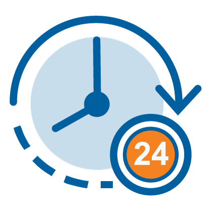 Graphic clock representing 24 hour availability
