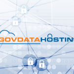 GovDataHosting logo on blue lock background